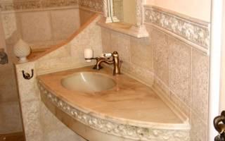 Столешница из гипсокартона в ванной под раковину и стиральную машину