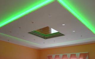 Как сделать потолок из гипсокартона с подсветкой и натяжным потолком?