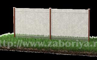 Забор из рабицы с протяжкой арматуры