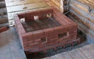 Фундамент для печки делается сразу с фундаментом для бани