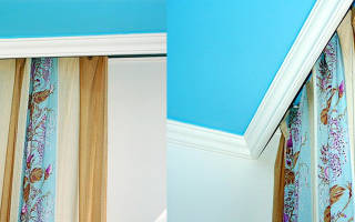 Короб на потолке из гипсокартона с нишей для занавески